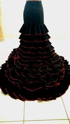 Bata de Cola Flamenco Skirt Long Train Skirt new size Medium Black/Red on Etsy, $210.96 AUD