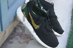 Nike Roshe Run Black White Green Bay Packers Football by NYCustoms