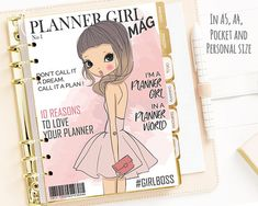 Printable Planner Girl Cover Magazine Dashboard, Fashion Print Planner Cover, A5 A4 Pocket Personnal Planner Inserts, Cover, Agenda Insert