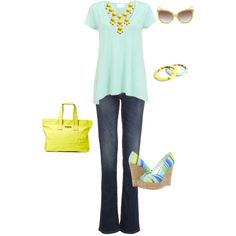 Mint and neon yellow by cs1398 on Polyvore