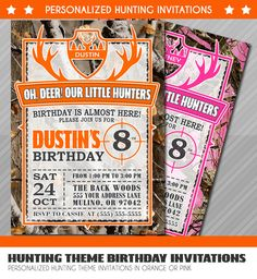 Hunter Birthday Invitations, Little Hunter Birthday Invitation, Hunting Party Invite, Realtree, Camouflage, Camo Invite, Pink Camo by WolcottDesigns on Etsy