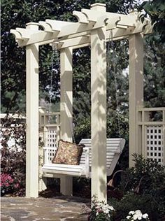 Arbor swings and pergola swing woodworking plans for the do-it-yourself handyman. Project plans for building an arbor yard swings or pergola style garden swings. Learn Woodworking, Popular Woodworking, Woodworking Plans, Woodworking Projects, Woodworking Furniture, Furniture Plans, Woodworking Basics, Woodworking Patterns, Woodworking Supplies