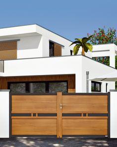 COFRECO- Portail Organdi entièrement enaluminium. www.cofreco.com Wood Fence Design, Front Door Design Wood, Modern Fence Design, Steel Gate Design, Front Gate Design, Main Gate Design, Wooden Door Design, Gate House, House Entrance