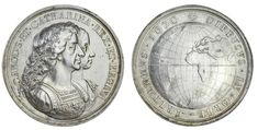 , AR Medal, by J Roettier, busts of Charles and Queen Catherine right, rev. globe, 38.53g, 42mm (Betts 44; MI… / MAD on Collections - Browse and find over 10,000 categories of collectables from around the world - antiques, stamps, coins, memorabilia, art, bottles, jewellery, furniture, medals, toys and more at madoncollections.com. Free to view - Free to Register - Visit today. #Coins #Tokens #MADonCollections #MADonC