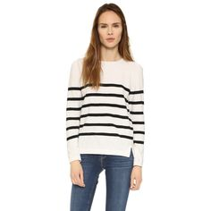 A.P.C. Andy Sweater ($200) ❤ liked on Polyvore featuring tops, sweaters, blanc casse, stripe top, striped top, long sleeve tops, short tops and white sweater