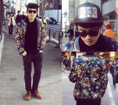 Choies New Look Bomber Coat With Crown Pattern, Modekungen Fvck Cap