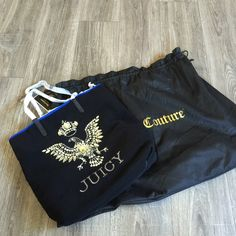 "Juicy Couture Book Laptop tote bag handbag FAB ⚡ Awesome new tote from Juicy Couture! Includes the juicy dust bag! Would make a great book bag for school or work. Eye catching bling. Brand new with tags, this beauty retailed for $198. An awesome gift idea!! Measures 15""x16""x4"" Juicy Couture Bags Totes"