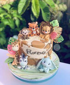 Boys First Birthday Cake, Safari Theme Birthday, Animal Birthday Cakes, Wild One Birthday Party, Baby Birthday Cakes, Animal Cakes, 1st Birthday Parties, Fondant Cake Designs, Safari Cakes