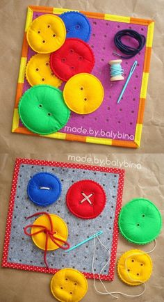 Game Board Kit - Sewing on Buttons - This kit is ideal for working on fine motor skills, manual dexterity, eye-hand coordination. Diy Quiet Books, Felt Quiet Books, Toddler Learning Activities, Montessori Activities, Busy Book, Diy Toys, Felt Crafts, Educational Toys, Board Games