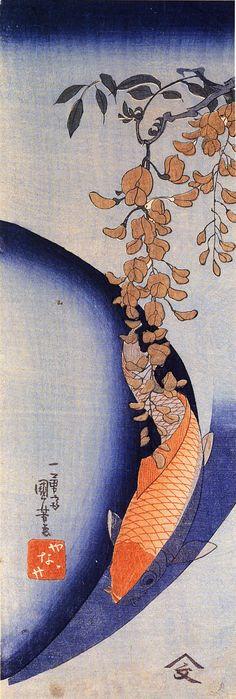 utagawa-kuniyoshi/red-carp-under-wisteria, oooh, I love this wisteria and carp, blue and orange...
