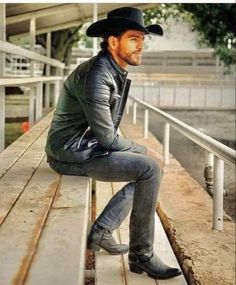 Hot Country Boys, Hot Cowboys, Leather Jackets, Boots, Fashion, Crotch Boots, Moda, Fashion Styles, Shoe Boot