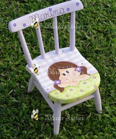 Painted Kids Chairs, Bright Painted Furniture, Kids Room Furniture, Art Furniture, Painting For Kids, Painting On Wood, Decoupage Chair, Upholstered Chairs, Diy Room Decor