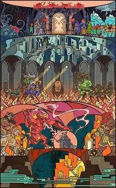 Lord Of The Rings in stained glass. deep_into_moria_by_breathing2004-d4xmoqj