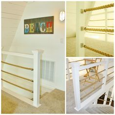 Upstairs loft in the A-Frame.  Nautical rope railing.
