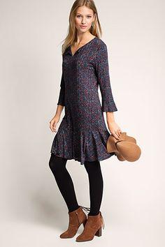 EDC / Bedrucktes Stretch-Jersey-Kleid
