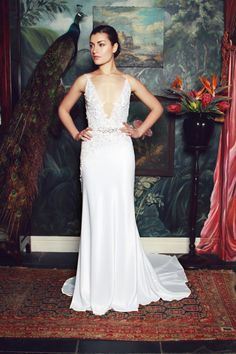 anna georgina 2015 bridal spagetti strap v plunging neckline floral embroidery bodice sheath wedding dress irene 2015 Wedding Dresses, Bridal Dresses, Wedding Gowns, Flower Girl Dresses, Bridesmaid Dresses, Photomontage, Mod Wedding, Tiki Wedding, Wedding Ideas
