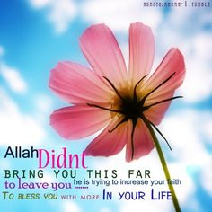 Allah didn't bring you this far to leave you…   Islam Quote