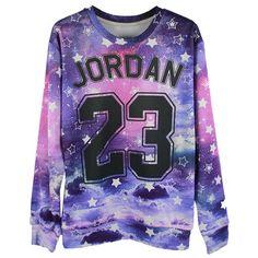 Galaxy 19 Number Print Boyfriend Sweatshirt ($23) ❤ liked on Polyvore featuring tops, hoodies, sweatshirts, shirts, sweaters, purple, shirts & tops, galaxy shirt, pattern shirts and knit shirt