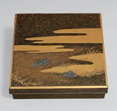 """浪花の夢蒔絵硯箱 Writing Box (Suzuribako) with """"Dream in Naniwa"""" Design Period: Edo period (1615–1868) Date: 18th century Culture: Japan Medium: Lacquered wood with gold, silver takamaki-e, hiramaki-e, and..."""
