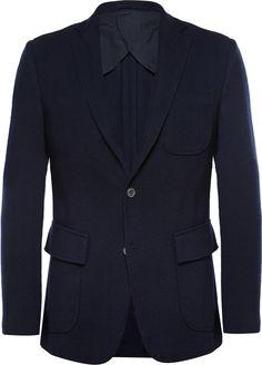 $639, Navy Wool Blazer: Lardini Wooster Navy Wool Blazer. Sold by MR PORTER. Click for more info: http://lookastic.com/men/shop_items/181131/redirect