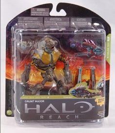 McFarlane Toys Halo Reach Series 4 Grunt Major Action Figure by McFarlane Toys. Save 23 Off!. $9.99. Figure features multiple points of articulation. Figure features the new two-pronged methane tank design introduced in Halo: Reach, and the orange-red armor color that identifies him as a Major. Figure includes Needler and Plasma Grenade. From the Manufacturer                McFarlane Toys is proud to present our forth line of action figures from the blockbuster video game, Halo Rea...