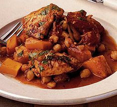 Chicken with pumpkin and chickpeas