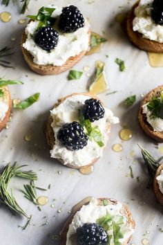 Blackberry Goat Cheese Crostini - This easy goat cheese appetizer recipe is perfect for summer entertaining! A simple whipped goat cheese, fresh summer blackberries, basil and a hint of lime make for a decadent bite that's sure to be a hit. Topped with a simple rosemary infused honey for a hint of earthy summer sweetness. Vegetarian.