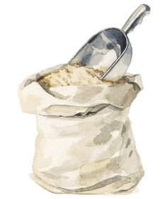 Illustration: Bag of flour with scoop
