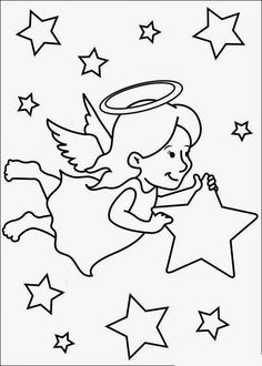 Resultado de imagem para desenhos para colorir de natal anjos