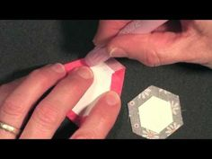 Tutorial of paper piecing hexies using a glue pen by Becky Goldsmith of Piece O' Cake Designs