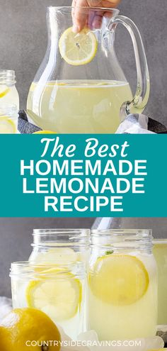 If you love lemonade, you're going to love this recipe! Lemonade is one of those drinks that tastes so much better homemade and it's so simple to make using our delicious and easy recipe. Shake Recipes, Tea Recipes, Coffee Recipes, Cocktail Recipes, Summer Recipes, Easy Dinner Recipes, Easy Lemonade Recipe, Homemade Lemonade Recipes, Healthy Smoothies