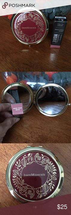 ✨NEW LIST✨ Bareminerals Compact Mirror & Moxie NWT Lip Moxie and a compact with 2 mirrors inside. One mirror is regular magnification and the other side enlargers the image. Last picture is to show some scratching on the bottom right and the top left. Plastic protector is still on the back of the compact so there are no scratches there. Beautiful design on the front so it'll get all the attention anyway Makeup