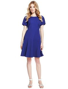Dark Blue Textured Dropwaist Dress Clothing
