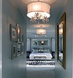 Glam gray + black + white bedroom. Love it!