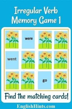 Play this irregular verb memory game to exercise your memory and practice the most common irregular past tense verbs. How fast can you find the matching cards? Simple Past Verbs, Simple Past Tense, Irregular Past Tense Verbs, Irregular Plurals, Speech Therapy Activities, Teaching Activities, Alphabet Activities, English Verbs, English Grammar