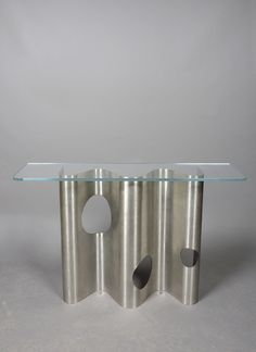 Pierre Folie; Steel and Glass Console, 1970.
