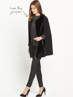 Black Cape. V by Very Faux Pony Skin Cape Coat £69 £55.50