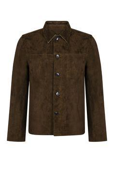 John Varvatos Men's Suede Jacket Brown - New Collection John Varvatos, Suede Jacket, Mandarin Collar, Minimal Design, Menswear, Banana, Brown, Coat, Jackets