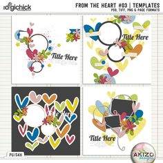 From The Heart 03   Templates by Akizo Designs - For Digital Scrapbooking Layout, Valentine's day page