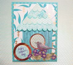 Bird and Birdhouse handmade card, Happy Mother's Day, Birthday, Bridal Shower, Graduation
