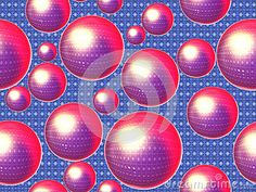Sparkling pink speres on blue textile background. Background and texture.
