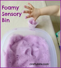 This foamy sensory bin is made with dish soap, water and food dye. Great for some sensory play with pouring, scooping and whisking.