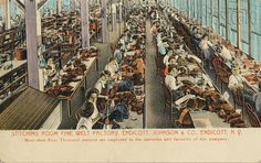 The Endicott Johnson Shoe Factory: stitching room at the factory, circa 1915.