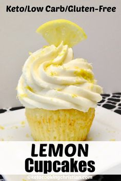 Lemon Cupcakes - Keto, Low Carb & Gluten Free The fresh flavor of lemons inside a moist cupcake, topped with a creamy frosting that has... you guessed it, more lemon! #ketolemoncupcakes #ketocupcakes #lowcarblemoncupcakes Moist Cupcakes, Keto Cupcakes, Lemon Frosting, The Fresh, Keto Recipes, Low Carb, Gluten Free, Desserts, Low Carb Recipes
