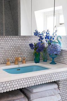 hex tile scallop edge, countertop, colorful sink