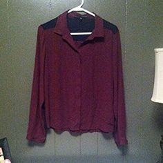 Harve Benard Sheer Purple and Black Button Up This is a very nice Harve Benard, purple and black, long sleeve, button down top. It is a size large and could probably fit a medium but is mostly true to size. Please take note of the small hole on the right shoulder. It could easily be repaired. This would be a great business causal top! Harve Benard Tops Button Down Shirts