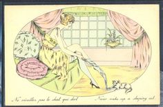 PY154-ART-DECO-a-s-DOLLY-RISQUE-EROTIC-LADY-LINGERIE-STOCKING-CAT-Kitten