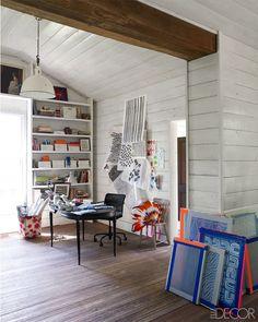 textile designer and artist Susan Hable Smith - studio space - Mix and Chic: Home tour- A textile designer's vibrant Georgia home!