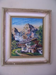 "Old AUSTRIAN original Oil Painting by Leipold "" House with Mountain View "" * signed * framed 14 x 12.5 by LIZ404 on Etsy"