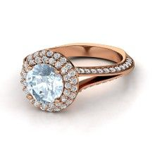 Round Aquamarine 14K Rose Gold Ring with Diamond
